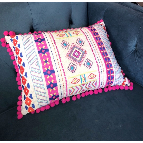 Other - Embroidered Home Decor Throw Pillow Tassel